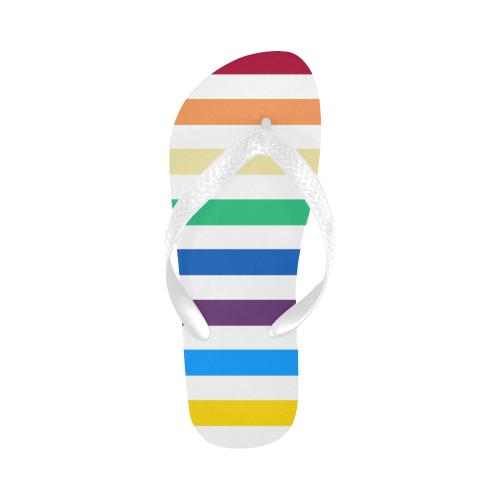 Rainbow Stripes with White Flip Flops for Men/Women (Model 040)