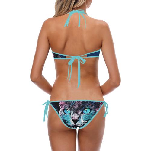 CAT ART BABYBLUE Custom Halter & Side Tie Bikini Swimsuit (Model S06)