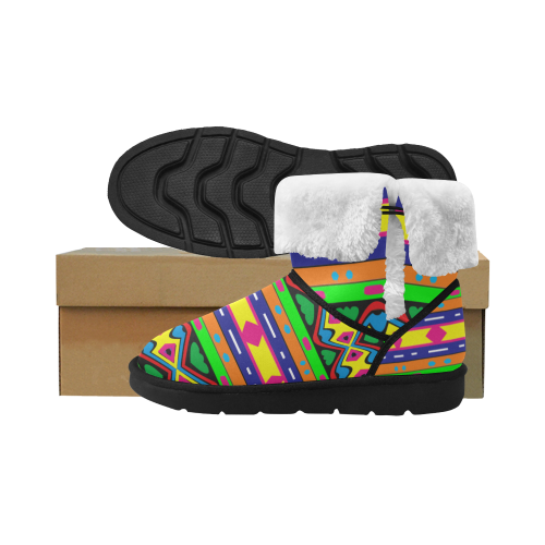 Distorted colorful shapes and stripes Unisex Single Button Snow Boots (Model 051)