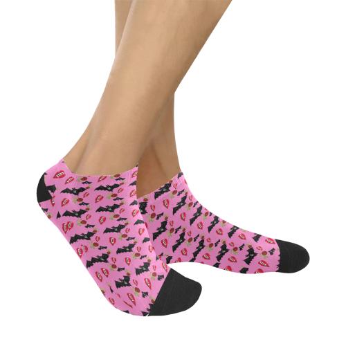 bat rose lips pink pattern Women's Ankle Socks