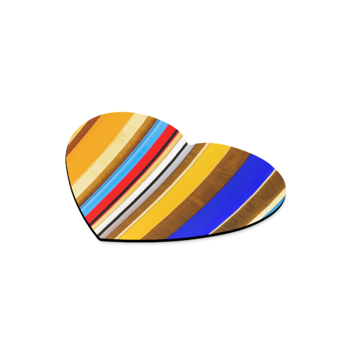 Colorful abstract pattern stripe art wood metal Heart-shaped Mousepad