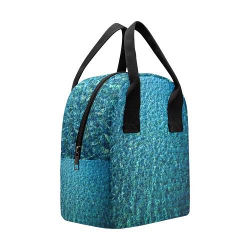 Turquoise Blue Ocean Insulated Zipper Lunch Bag (Model 1689)