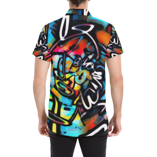 Streetart Chaos Graffiti Button Down Men's All Over Print Short Sleeve Shirt (Model T53)