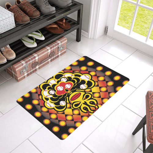 "SkullySpray Pittsburgh Doormat Doormat 24""x16"" (Black Base)"