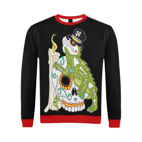 Iguana Sugar Skull Black/Red All Over Print Crewneck Sweatshirt for Men (Model H18)