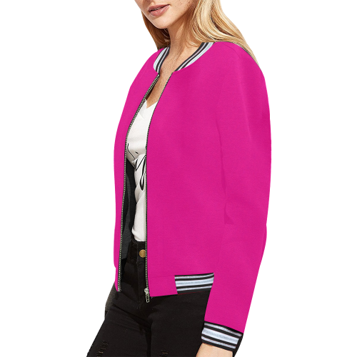 Hot Pink Happiness All Over Print Bomber Jacket for Women (Model H21)