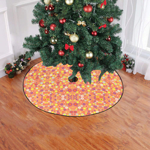 "Floral Pattern Living Coral Christmas Tree Skirt 47"" x 47"""