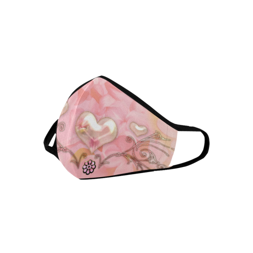 Hearts, soft colors Mouth Mask