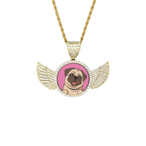 I Love Pugs Wings Gold Photo Pendant with Rope Chain