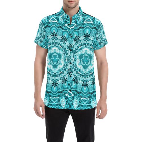RUSSIAN MANDALA 15 Men's All Over Print Short Sleeve Shirt/Large Size (Model T53)