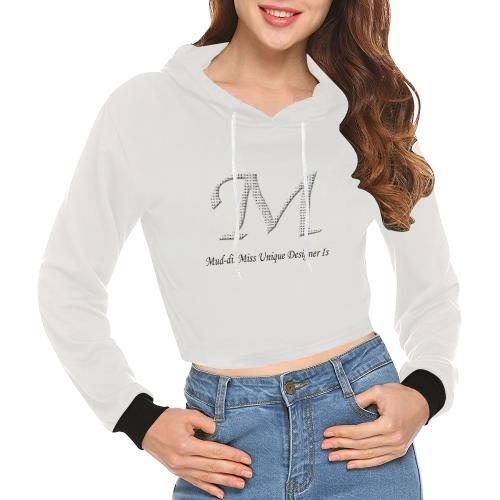 Mud-di Signature Title Snug All Over Print Crop Hoodie for Women (Model H22)