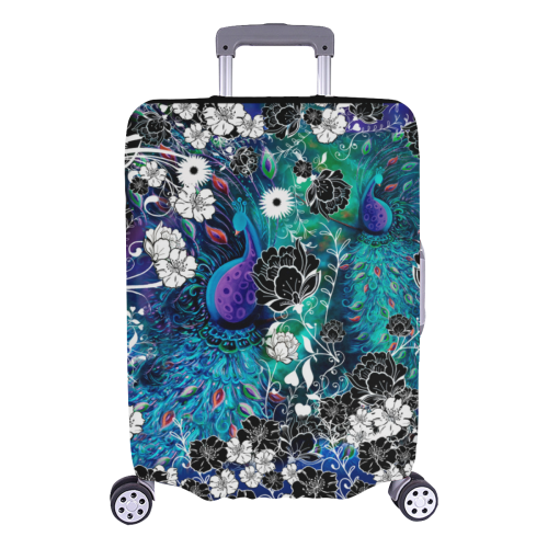 SCOCICI Luggage Bag Cover Birds on Branch with Geometrical Abstract Rainbow Colored Sharp Lined Backdrop Elastic Suitcase Protective Cover Travel Luggage Case Cover