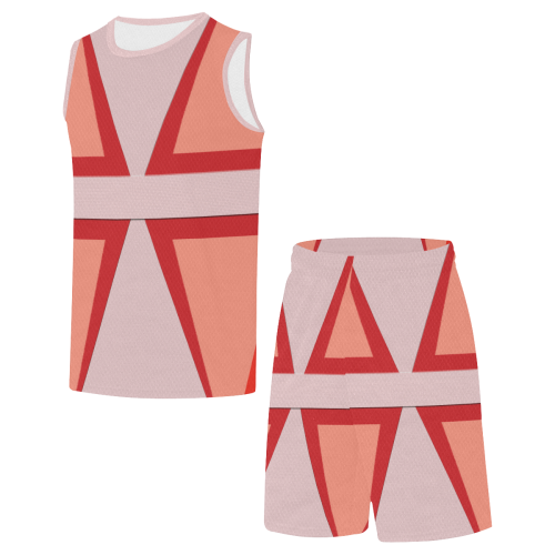 Shades of Red Patchwork All Over Print Basketball Uniform