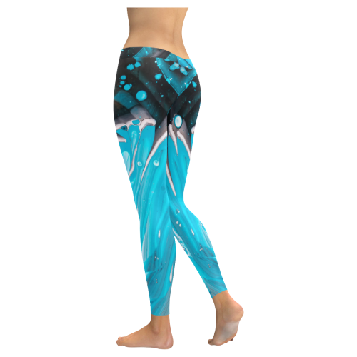 bleu & noir. Low Rise Leggings (Invisible Stitch) (Model L05)