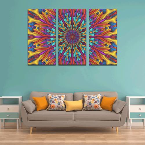 Amazing colors fractal mandala Canvas Wall Art X (3 pieces)