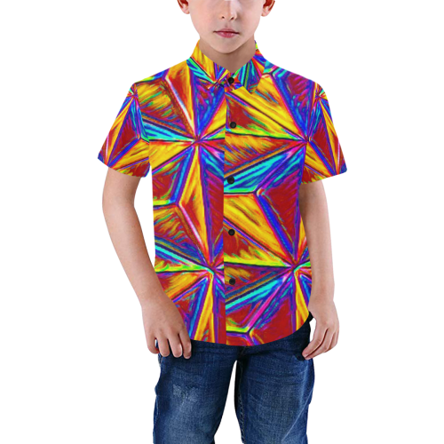Vivid Life  by JamColors Boys' All Over Print Short Sleeve Shirt (Model T59)
