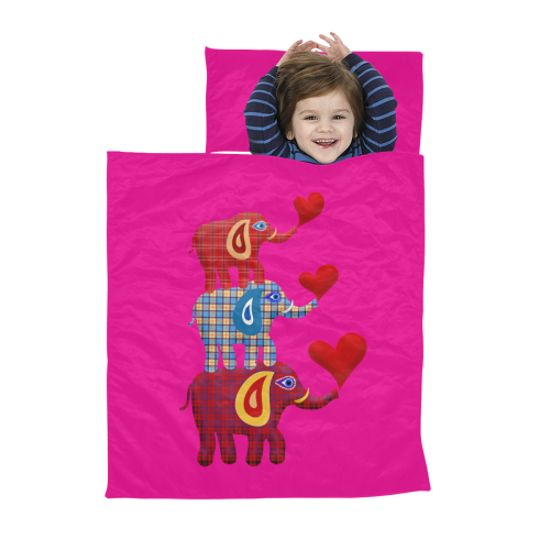 Stacked Plaid Elephants Hot Pink Kids' Sleeping Bag