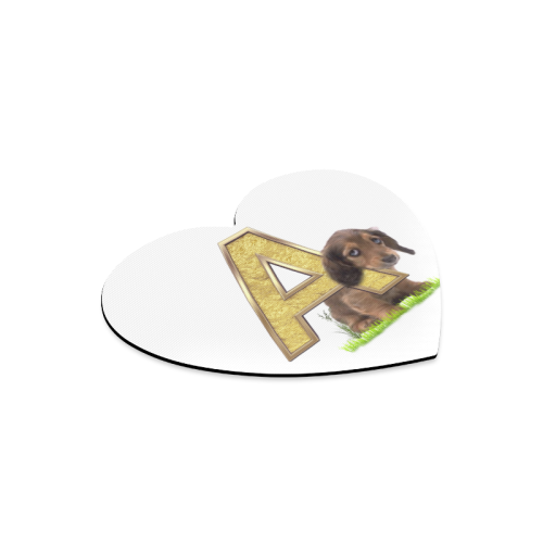 Birthday Letter A  puppy dog Heart-shaped Mousepad