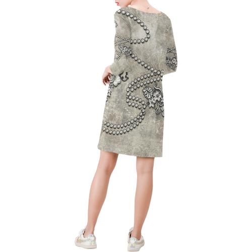 Decorative design, damask Deep V Three-Quarter Sleeve Dress (Model D48)