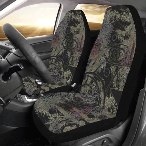 Circles in Black Car Seat Covers (Set of 2)