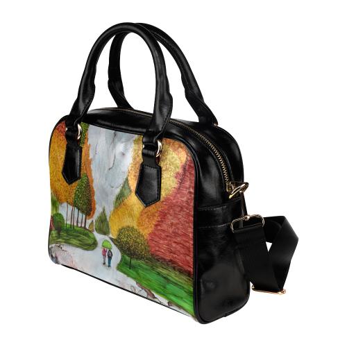 A Rainy Walk to the Bus Shoulder Handbag (Model 1634)