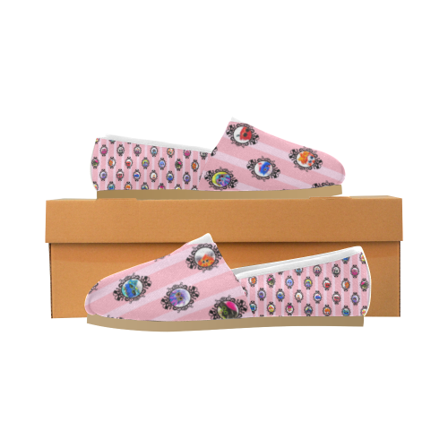 Pink Grid Unisex Casual Shoes (Model 004)