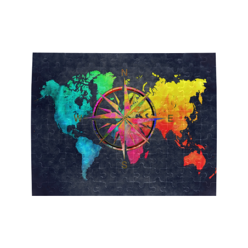 world map wind rose #map #worldmap Rectangle Jigsaw Puzzle (Set of 110 Pieces)
