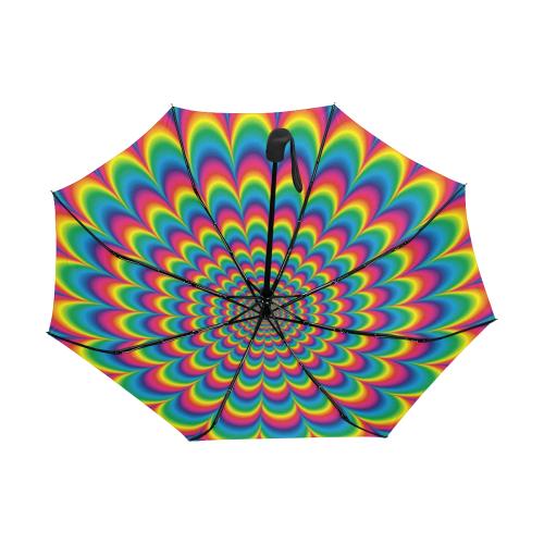 Crazy Psychedelic Flower Power Mandala Anti-UV Auto-Foldable Umbrella (Underside Printing) (U06)