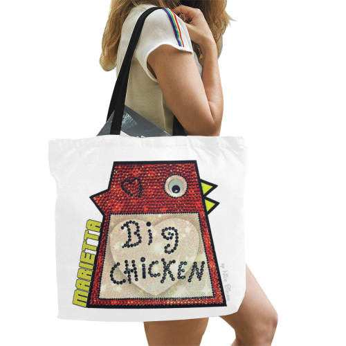 Glitter Big Chicken by Nico Bielow All Over Print Canvas Tote Bag/Large (Model 1699)