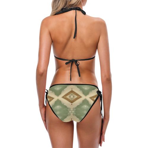 Geometric Camo black trim detail Custom Bikini Swimsuit (Model S01)