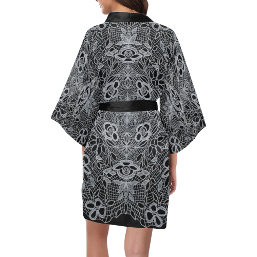 White Crocheted Lace Mandala Pattern Kimono Robe