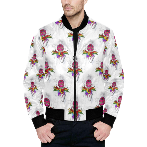 Skull Popart by Nico Bielow All Over Print Quilted Bomber Jacket for Men (Model H33)