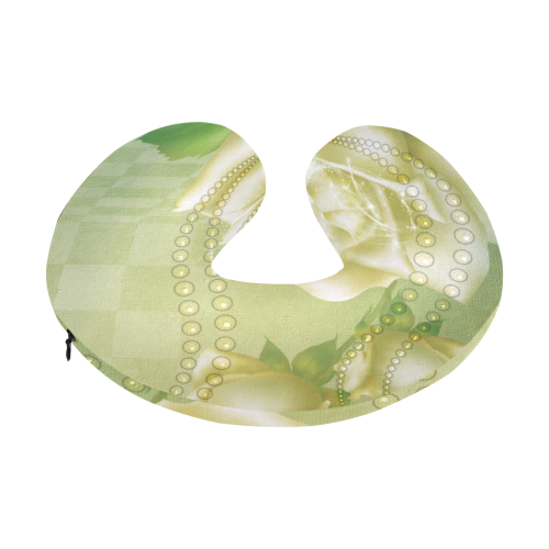Beautiful soft green roses U-Shape Travel Pillow