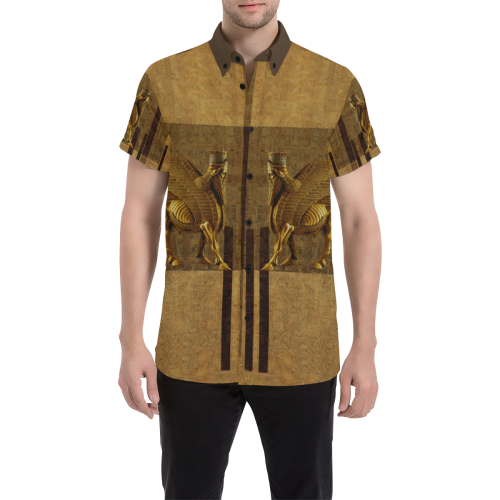 Lamassu Brown Men's All Over Print Short Sleeve Shirt (Model T53)