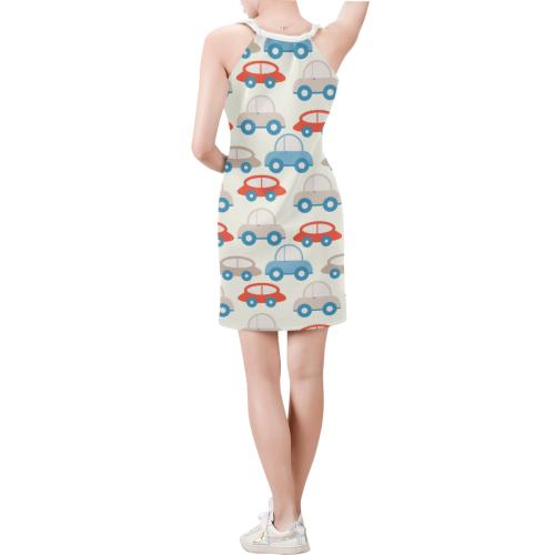 retro cars pattern Sleeveless V Neck Dress (Model D55)