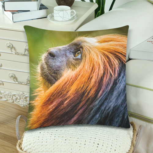"Golden Headed Lion Tamarin Custom Zippered Pillow Cases 18""x 18"" (Twin Sides) (Set of 2)"
