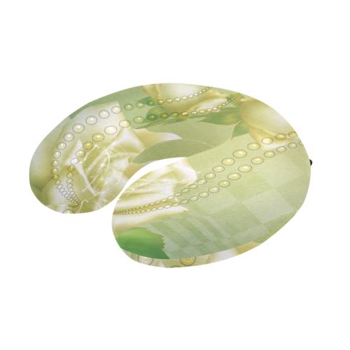 Beautiful soft green roses U-Shape Travel Pillow