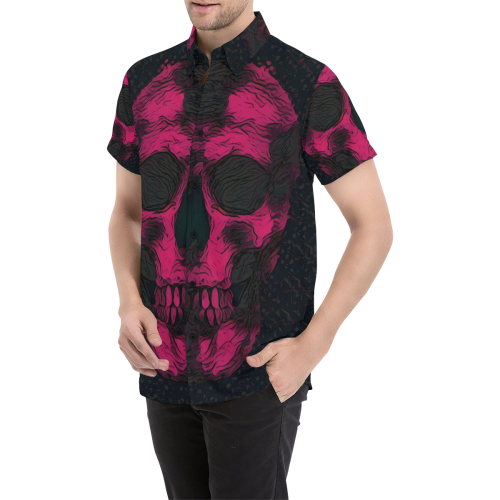 SKULL PINK ON BLACK ABSTRACT Men's All Over Print Short Sleeve Shirt (Model T53)