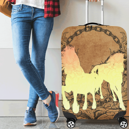"""Beautiful horse silhouette in yellow colors Luggage Cover/Large 26""""-28"""""""