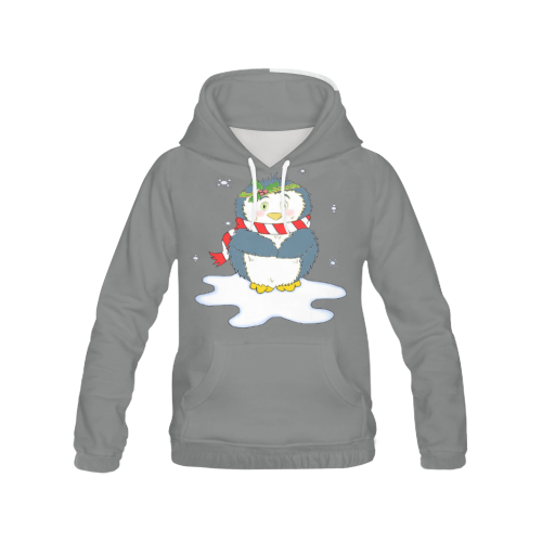 Adorable Christmas Penguin Grey All Over Print Hoodie (for Women)