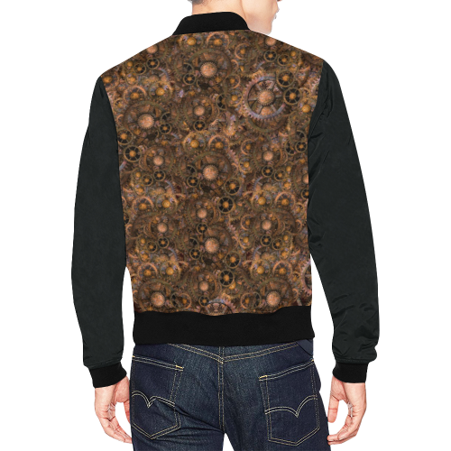 Steampunk Cogs Sizes 3XL & 4XL All Over Print Bomber Jacket for Men/Large Size (Model H19)