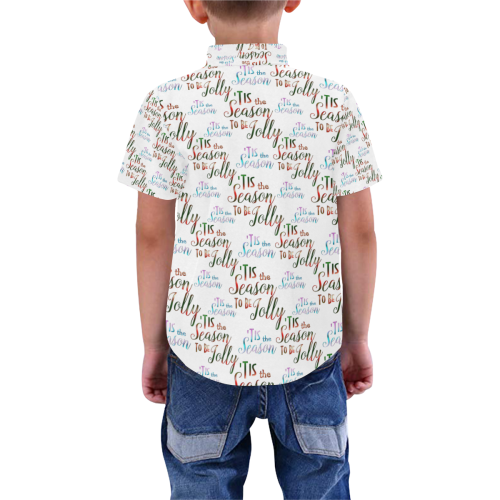Christmas 'Tis The Season Pattern Boys' All Over Print Short Sleeve Shirt (Model T59)