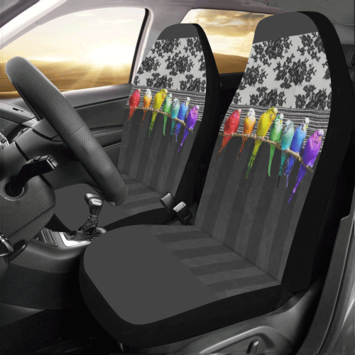 Rainbow Budgies and Lace Car Seat Covers (Set of 2)