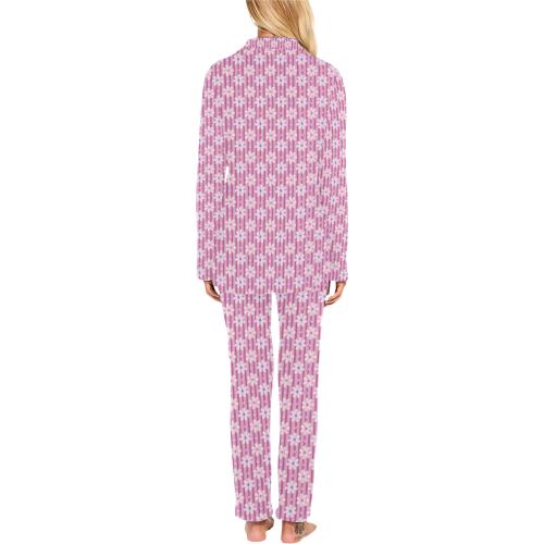 Pretty Pink Flowers Women's Long Pajama Set (Sets 02)