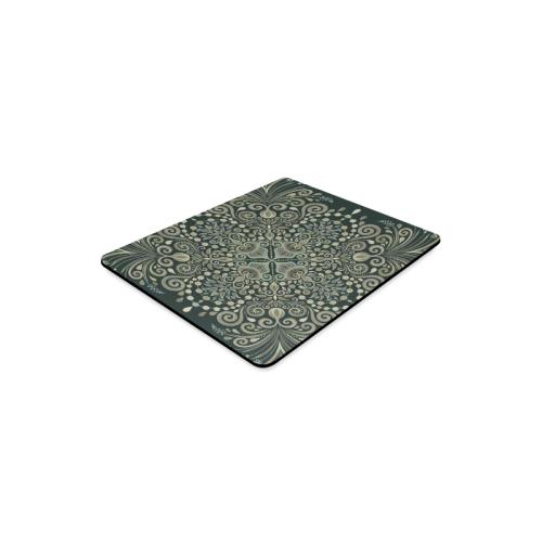 Brown Green Gold Pearl Jewel Vintage Mandala Rectangle Mousepad