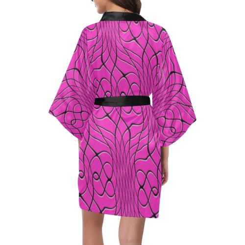 Pink Pineapple Twist Kimono Robe