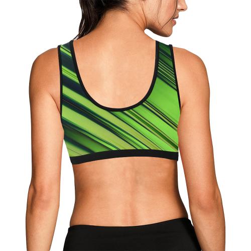 Diagonal Green/Black Stripes Women's All Over Print Sports Bra (Model T52)