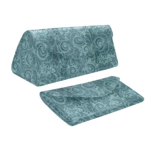 Denim with vintage floral pattern, turquoise teal Custom Foldable Glasses Case