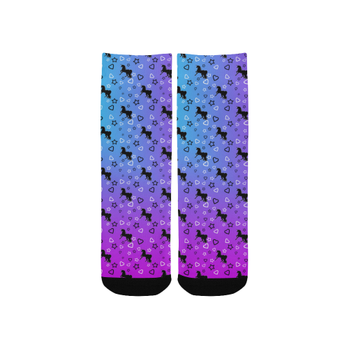 White Unicorn Pattern (Blue & Pink) Kids' Custom Socks