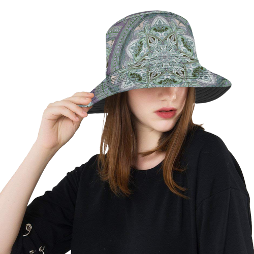 embroidery-green gray All Over Print Bucket Hat